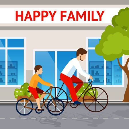 father and son: Happy family concept with dad and son riding on bicycles vector illustration