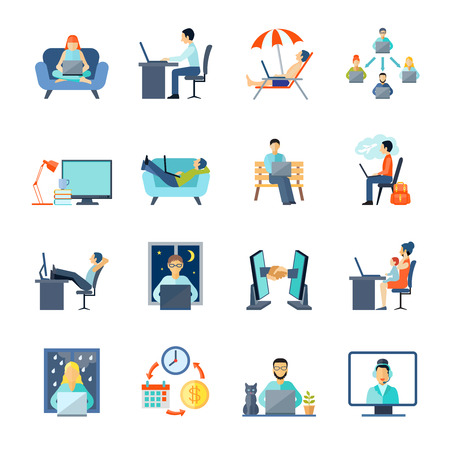 work from home: Freelance icons set with working at home rest and laptop flat isolated vector illustration
