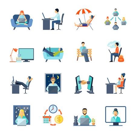 Freelance pictogrammen die met het werken thuis rust en laptop vlakke geïsoleerde vector illustratie
