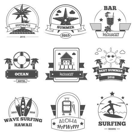 estampilla: Beach vacation and sea resting label set isolated vector illustration