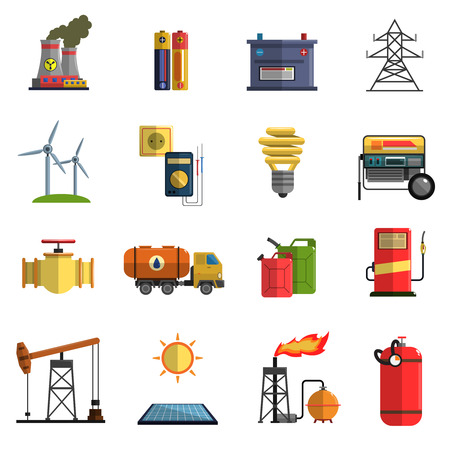 nuclear reactor: Energy generating and storing systems with high power sustainable batteries flat icons set abstract isolated vector illustration