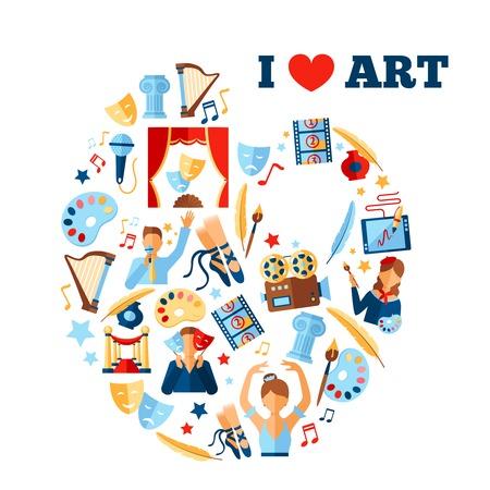 Art concept illustration with artist and creativity symbols in circle shape vector illustration Illustration