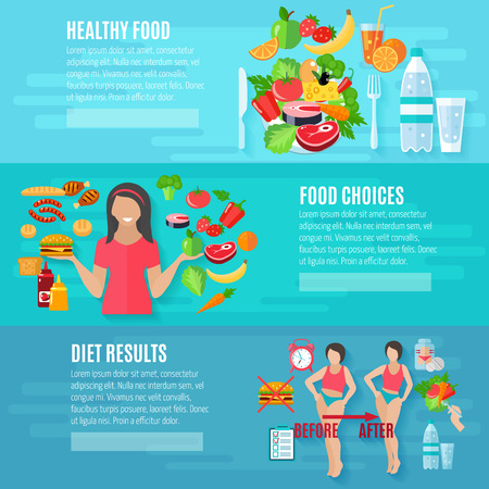 Healthy food choice weight loss diet before and after result flat banners set abstract isolated vector illustration