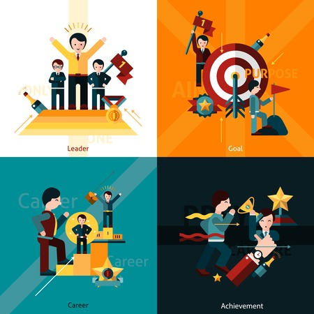 set goals: Success design concept set with leader goal career achievement flat icons isolated vector illustration
