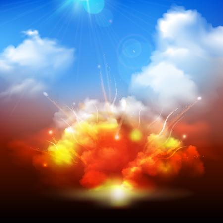 태양 광선을 배경 배너 추상 벡터 일러스트 레이 션을 방사와 블루 흐린 하늘로 분출 대규모 노란 오렌지 폭발