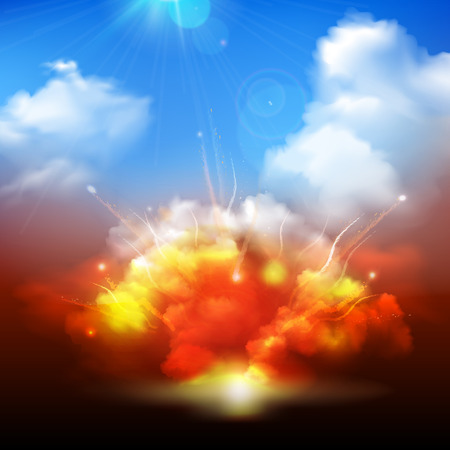 Massive yellow orange explosion bursting into blue cloudy sky with radiating sunrays background banner abstract vector illustration