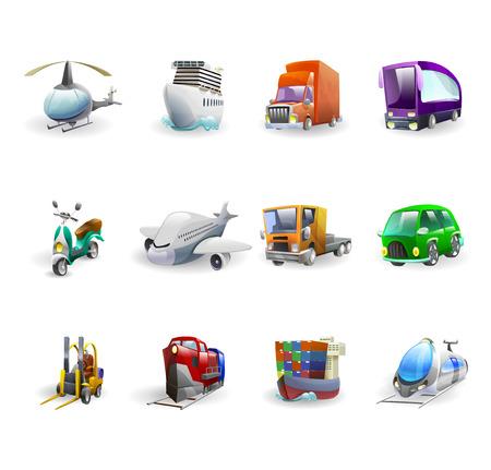 cartoon truck: Iconos del transporte y la entrega de dibujos animados establecen con el avi�n de coche buque de carga y el bus aislado ilustraci�n vectorial