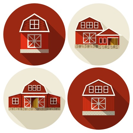 barn: Farm buildings country houses and warehouses flat icons set isolated vector illustration