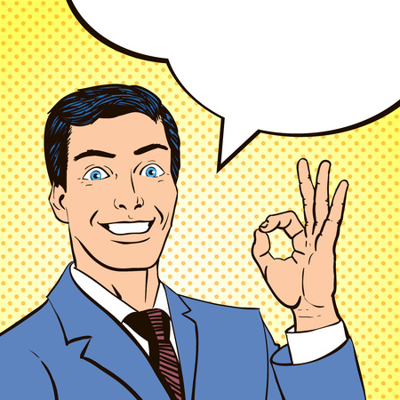 Comics book panel with smiling young man and a speech bubble making ok sign abstract vector illustration