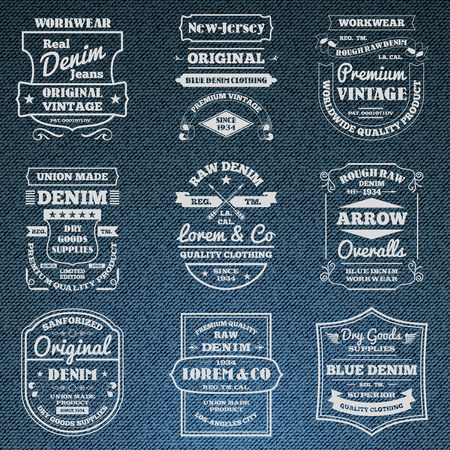 Classical blue denim jeans typography logo emblems limited edition graphic design icons collection abstract isolated vector illustration. Editable EPS and Render in JPG format