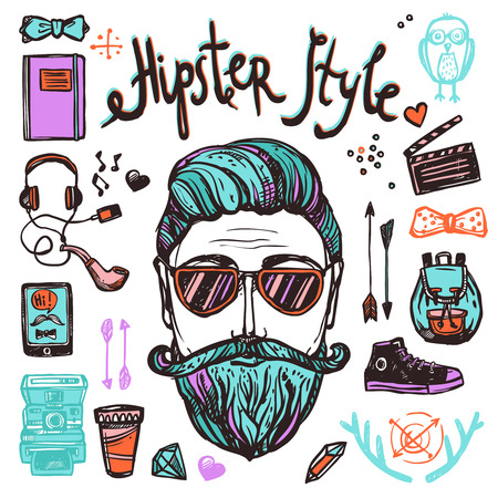 caricaturas de personas: Hipster persona estilo de dibujos animados con accesorios atribución y símbolos boceto a color mano concepto dibujado ilustración vectorial