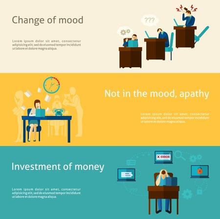 work stress: Frustration horizontal banner set with flat mood problem elements isolated vector illustration Illustration