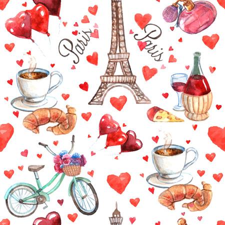 Paris romantic love culture read heart symbols seamless decorative souvenir wrap paper pattern watercolor abstract vector illustration