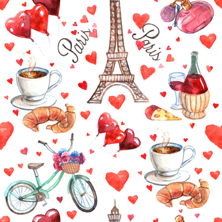 Paris romantic love culture read heart symbols seamless decorative souvenir wrap paper pattern watercolor abstract vector illustration