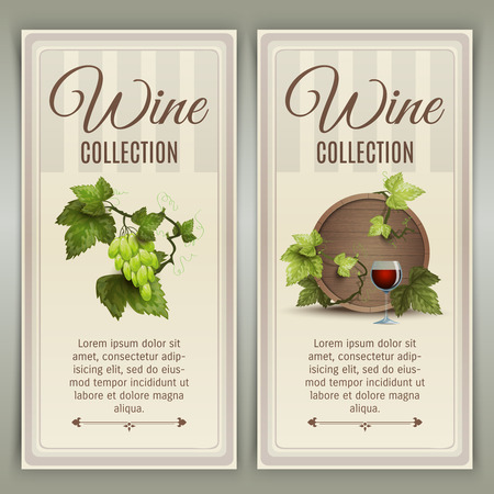 oak barrel: Winery farm quality wines collection advertisement 2 vertical banners set with oak barrel abstract vector isolated illustration Illustration