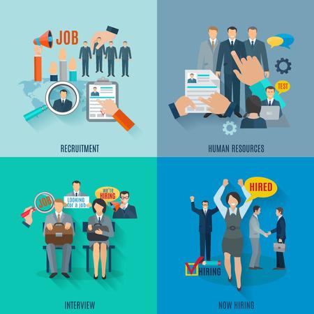 Coches concepto de diseño conjunto con iconos planos de reclutamiento de recursos humanos aislados ilustración vectorial