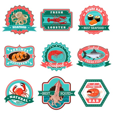 grill: Premium quality seafood and fish menu emblems set isolated vector illustration