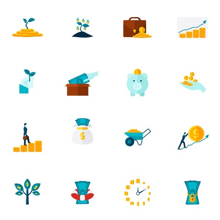 profusion: Investment money market coins tree and box dollar color flat icon set isolated vector illustration