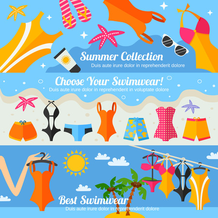 swimwear: Summer beach clothing accessories and swimwear fashion collection flat color horizontal banner set isolated vector illustration