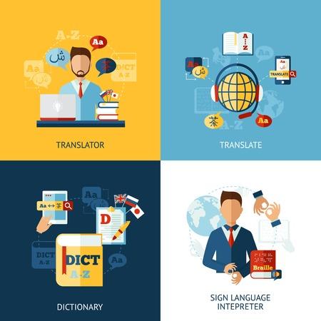 languages: Traductor concepto de diseño conjunto con iconos planos intérprete de señas aislado ilustración vectorial