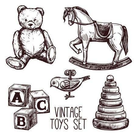 Vintage speelgoed set met schets teddybeer hobbelpaard en geïsoleerd piramide vector illustratie