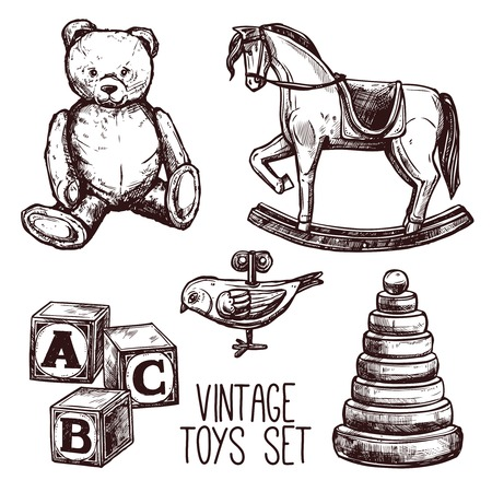 Vintage toys set with sketch teddy bear rocking horse and pyramid isolated vector illustration