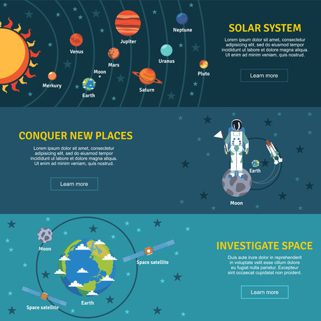 solar: Solar system and space investigation flat horizontal banners set with sun planets  and spacecraft abstract vector illustration