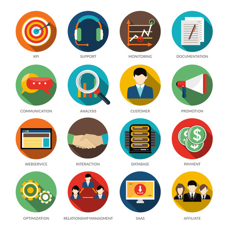 crm: CRM round icons set with monitoring support customer communication and database vector illustration Illustration