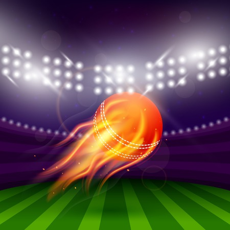 Stadium of cricket at night with flying ball in fire vector illustration
