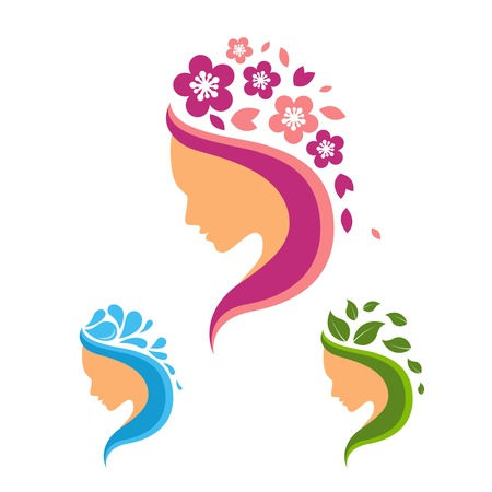 Beauty salon logo set with female profiles with flowers water and leaves elements isolated vector illustration Vettoriali