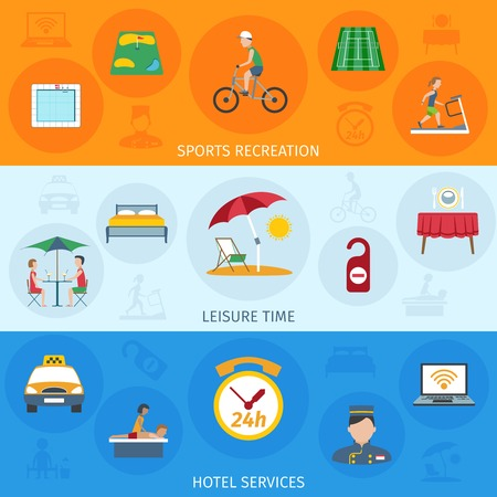 leisure time: Hotel services horizontal banner set with leisure time flat elements isolated vector illustration