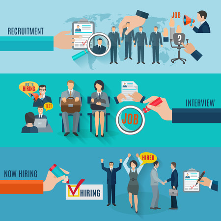 interview: Hire horizontal banner set with recruitment interview flat elements isolated vector illustration