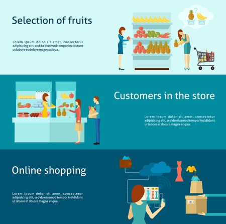 supermarket shopping cart: Buyer horizontal banner set with flat online shopping elements isolated vector illustration Illustration