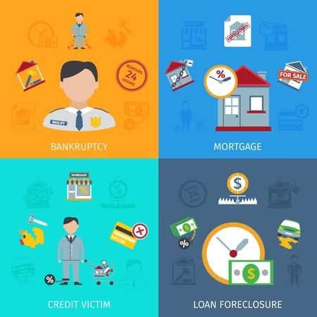 Ejecución hipotecaria Préstamo concepto de diseño conjunto con iconos planos víctima crédito aislada ilustración vectorial Ilustración de vector