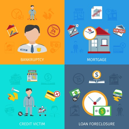 icons set: Loan foreclosure design concept set with credit victim flat icons isolated vector illustration Illustration