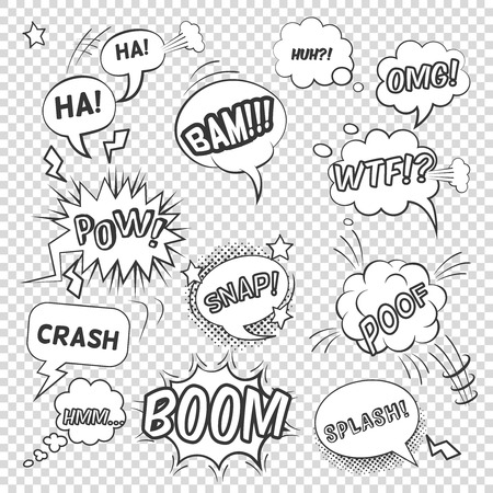 Pop art black white bubbles set with sound effects and exclamations on transparent background flat vector illustration Ilustração