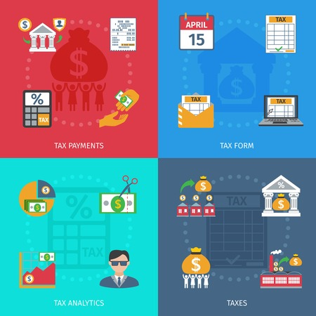 tax form: Tax design concept set with payments form and analytics flat icons isolated vector illustration Illustration