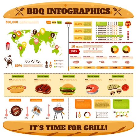 grill: Barbecue infographics set with meat fish grilled steaks symbols and charts vector illustration