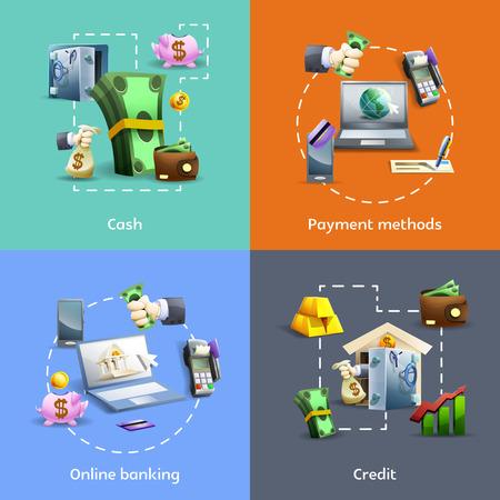 Bank- en betalingsmethoden cartoon pictogrammen instellen met online activiteiten en credit geïsoleerd vector illustratie