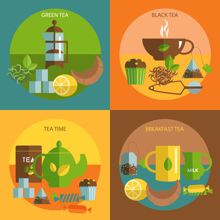 afternoon tea: English afternoon black and green  tea time  4 flat icons square composition banner abstract isolated vector illustration