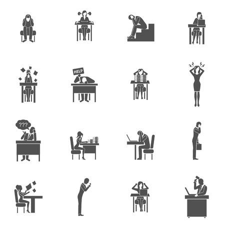 Mensen uit het bedrijfsleven in frustratie zwarte vlakke pictogrammen set geïsoleerde vector illustratie