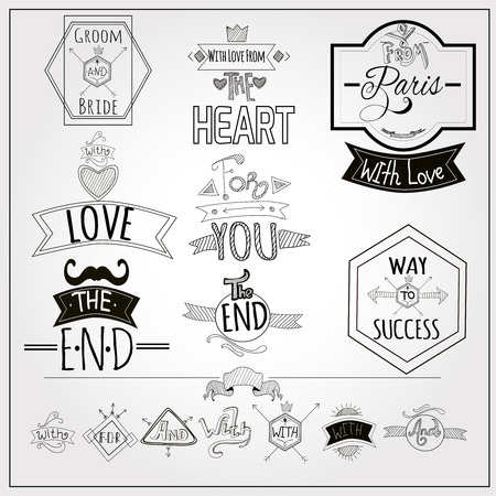 Retro trefwoorden en romantische hart liefde embleem op whiteboard zwarte viltstift doodle stijl abstracte illustratie