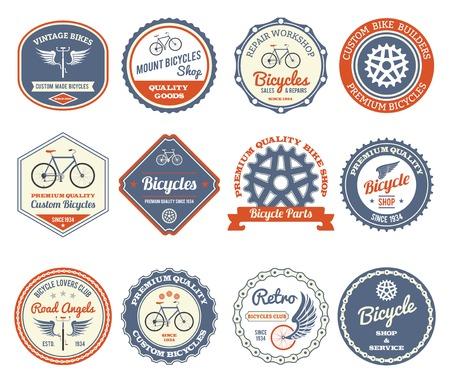 cadenas: Ciclismo y bicicletas del club retro emblemas conjunto aislado ilustración vectorial