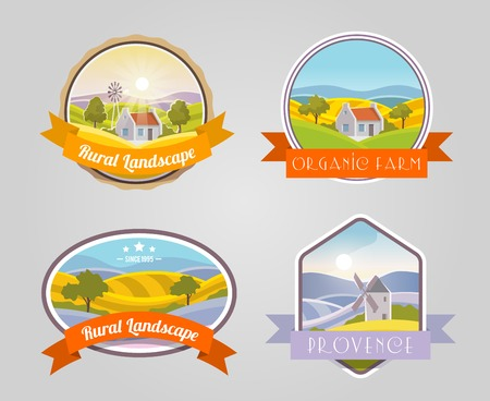 provence: Rural landscape provence organic farm label set isolated vector illustration Illustration