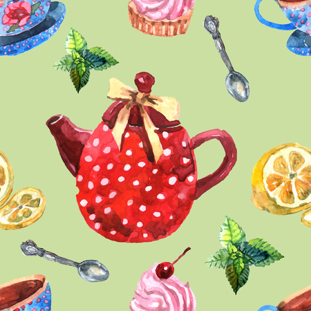 afternoon: Watercolor tea seamless pattern with teapot lemon and mint vector illustration