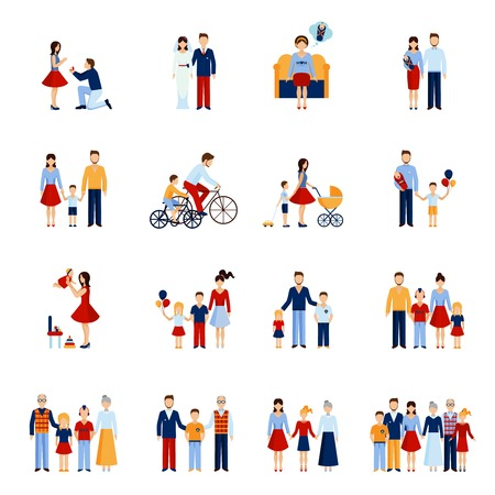 Family icons set with parents kids and other people figures isolated vector illustration Çizim