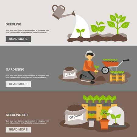 Seedling horizontal banner set with gardening flat elements isolated vector illustration