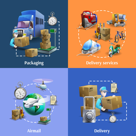 cartoon world: Transportation and delivery cartoon icons set with packaging and mail service isolated vector illustration