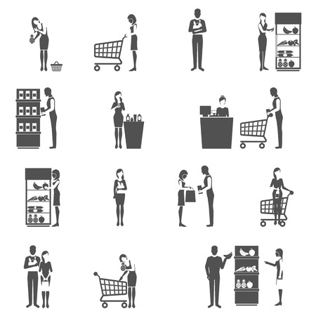 woman shopping cart: Buyers and supermarket customers black icons set isolated vector illustration Illustration