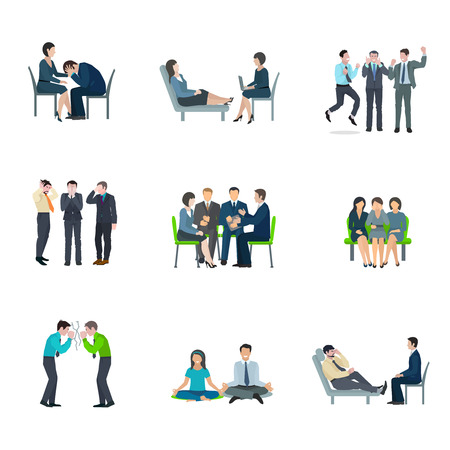 Mental health maintaining methods of group therapy and psychoanalytic appointment flat icons set abstract isolated vector illustration